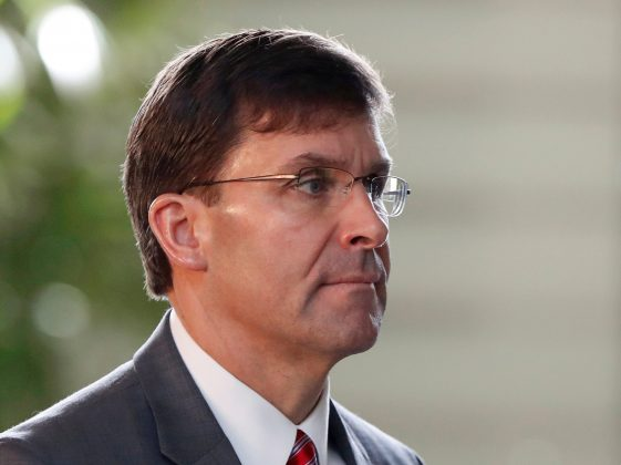 FILE PHOTO: U.S. Secretary of Defence Mark Esper arrives for a meeting with Japanese Prime Minister Shinzo Abe at Abe's official residence in Tokyo, Japan, August 7, 2019. REUTERS/Issei Kato