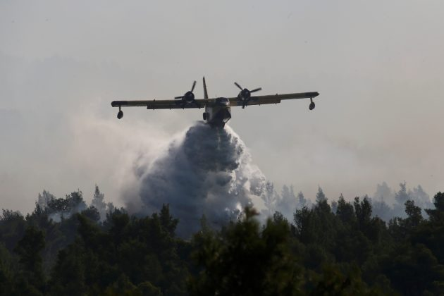 A firefighting plane makes a water drop as a wildfire burns near the village of Stavros on the island of Evia, Greece, August 14, 2019. REUTERS/Costas Baltas