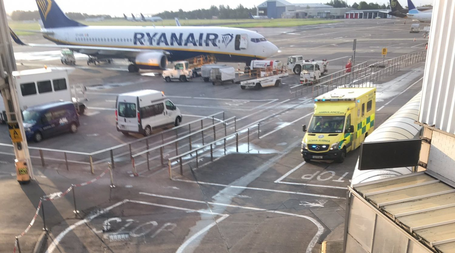 Emergency vehicles respond after an Omni Air International Boeing 767-300 (not pictured) caught fire at Shannon Airport, Ireland August 15, 2019 in this image obtained from social media. Charles Pereira via REUTERS