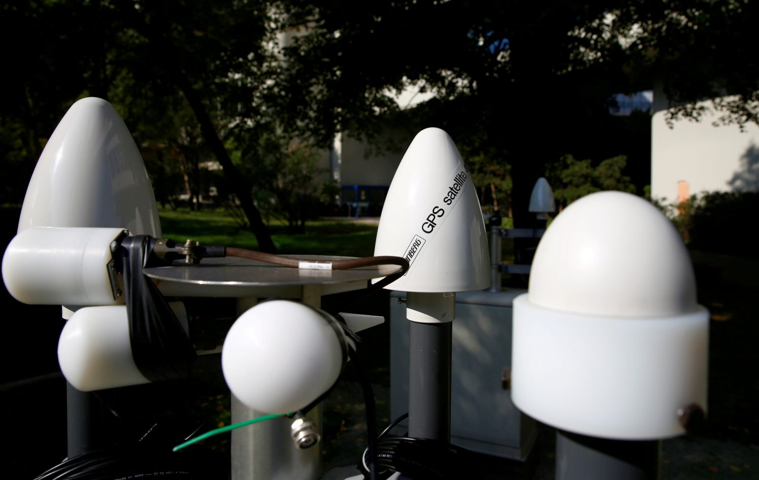 FILE PHOTO: Antennas of a testing facility for seismic and infrasound technologies of the Comprehensive Nuclear-Test-Ban Treaty Organization (CTBTO) are shown in the garden of their headquarters in Vienna, Austria, September 28, 2017. REUTERS/Leonhard Foeger