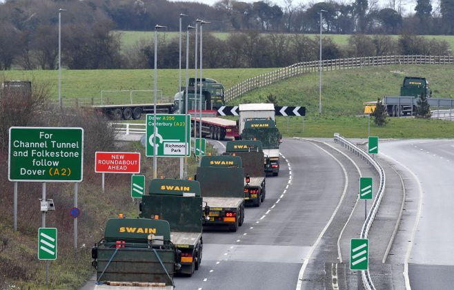 """FILE PHOTO: A line of trucks is seen during a trial between disused Manston Airport and the Port of Dover of how road will cope in case of a """"no-deal"""" Brexit, Kent Britain January 7, 2019. REUTERS/Toby Melville/File Photo"""