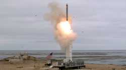 FILE PHOTO: A conventionally configured ground-launched cruise missile is launched by the U.S. Department of Defense (DOD) during a test to inform development of future intermediate-range capabilities at San Nicolas Island, California, U.S., August 18, 2019. Scott Howe/U.S. Dept of Defense/Handout via REUTERS