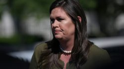 FILE PHOTO: U.S. White House Press Secretary Sarah Huckabee Sanders speaks to the news media after giving an interview to Fox News outside of the White House in Washington, U.S. May 31, 2019. REUTERS/Leah Millis