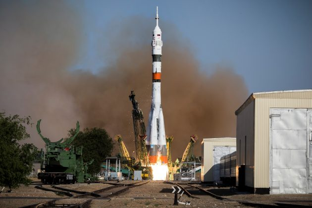 Russian Soyuz-2.1a booster with the Soyuz MS-14 spacecraft carrying robot Skybot F-850 blasts off from a launchpad at the Baikonur Cosmodrome, Kazakhstan August 22, 2019. Russian space agency Roscosmos/Handout via REUTERS