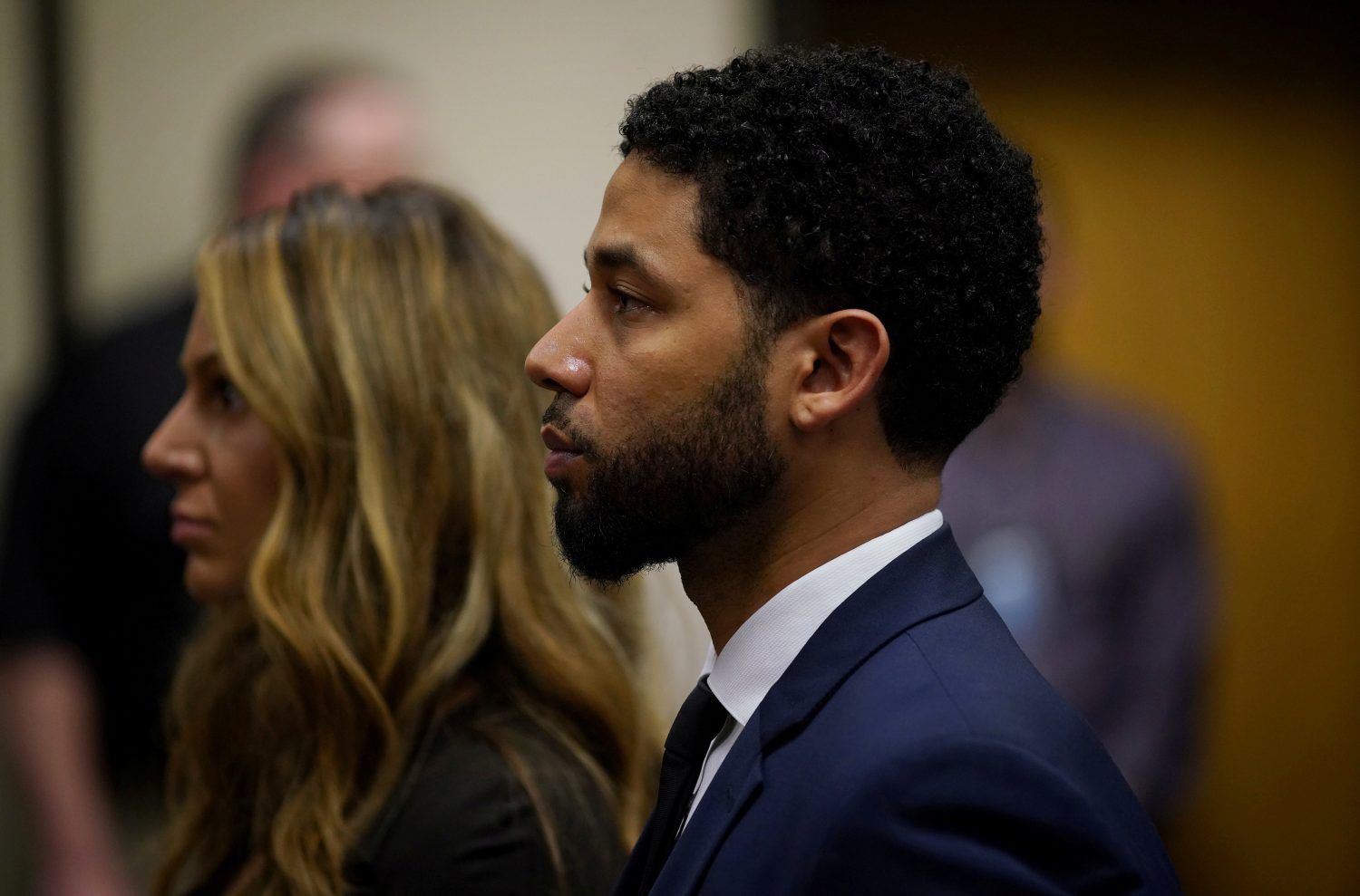 FILE PHOTO: Actor Jussie Smollett appears at a hearing for judge assignment with his attorney Tina Glandian (L), at the Leighton Criminal Court Building in Chicago, Illinois, U.S., March 14, 2019. E. Jason Wambsgans/Chicago Tribune/Pool via REUTERS/File Photo