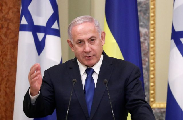 Israeli Prime Minister Benjamin Netanyahu speaks during a news briefing following the talks with Ukrainian President Volodymyr Zelenskiy in Kiev, Ukraine August 19, 2019. REUTERS/Valentyn Ogirenko