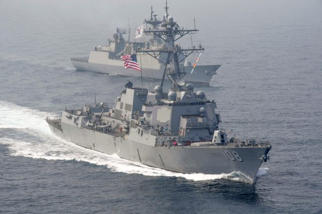 FILE PHOTO: The U.S. Navy Arleigh Burke-class guided-missile destroyer USS Wayne E. Meyer sails alongside South Korean multirole guided-missile destroyer Wang Geon during a bilateral exercise in the western Pacific Ocean April 25, 2017. U.S. Navy/Mass Communication Specialist 3rd Class Kelsey L. Adams/Handout via REUTERS