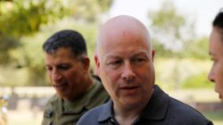 FILE PHOTO: Jason Greenblatt (C), U.S. President Donald Trump's Middle East envoy, arrives to visit Kibbutz Nahal Oz, just outside the Gaza Strip, in southern Israel August 30, 2017. REUTERS/Amir Cohen
