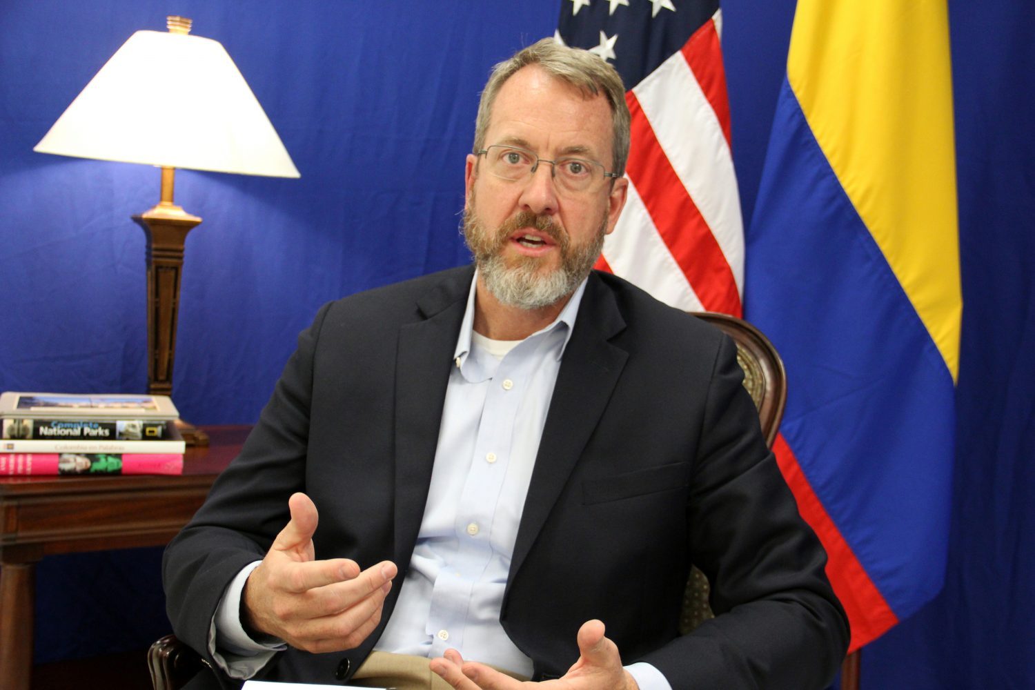 FILE PHOTO: U.S. Charge d'Affaires for Venezuela James Story, speaks during an interview with Reuters in Bogota, Colombia April 12, 2019. Picture taken April 12, 2019. REUTERS/Julia Symmes Cobb