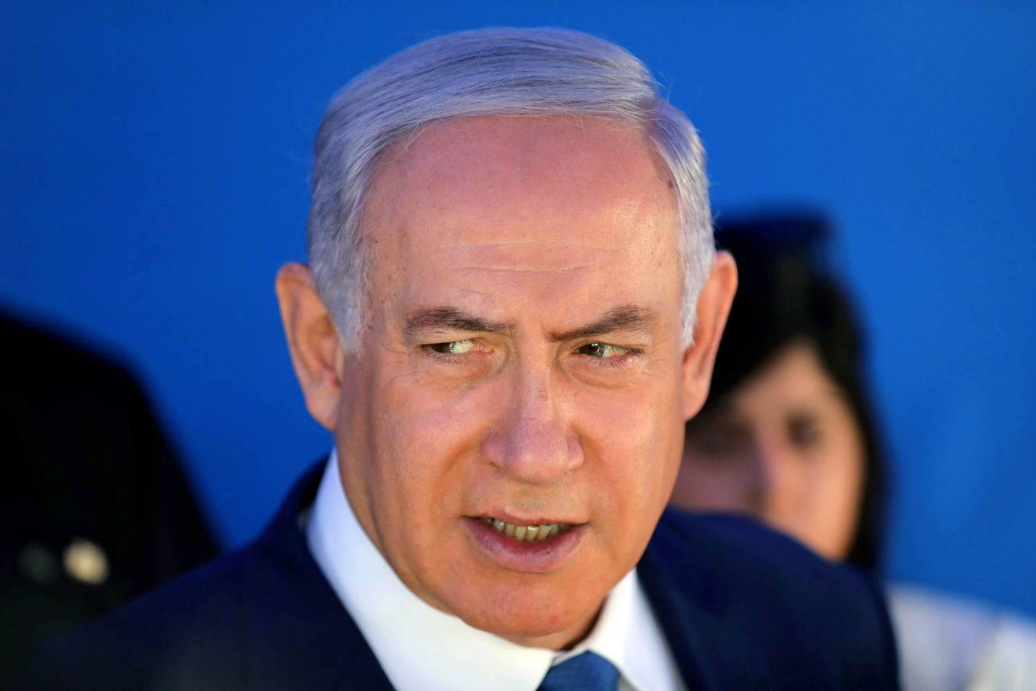 FILE PHOTO: Israeli Prime Minister Benjamin Netanyahu speaks during a cornerstone-laying ceremony for Mobileye's center in Jerusalem August 27, 2019. Abir Sultan/Pool via REUTERS/File Photo