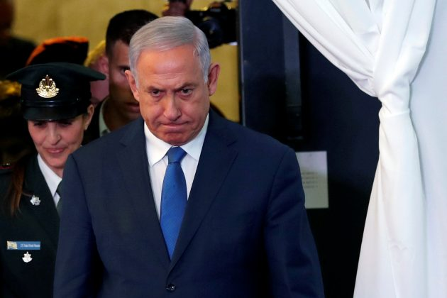 Israeli Prime Minister Benjamin Netanyahu looks on as he arrives to review an honor guard with his Ethiopian counterpart Abiy Ahmed during their meeting in Jerusalem September 1, 2019. REUTERS/Ronen Zvulun