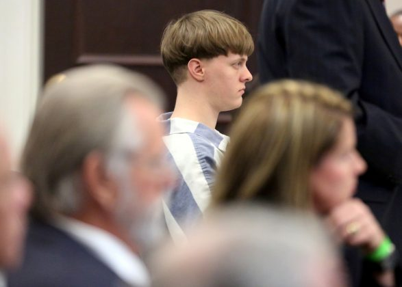 FILE PHOTO: Dylann Roof sits in the court room at the Charleston County Judicial Center to enter his guilty plea on murder charges in state court for the 2015 shooting massacre at a historic black church, in Charleston, South Carolina, U.S., April 10, 2017. REUTERS/Grace Beahm/Pool/File Photo