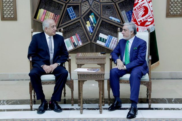 U.S. special representative for Afghanistan, Zalmay Khalilzad (L), meets with Afghanistan Chief Executive Abdullah Abdullah in Kabul, Afghanistan September 2, 2019. Afghan Chief Executive office/Handout via REUTERS