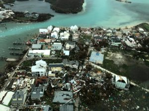 An aerial view shows devastation after hurricane Dorian hit the Abaco Islands in the Bahamas, September 3, 2019, in this image obtained via social media. Michelle Cove/Trans Island Airways/via REUTERS