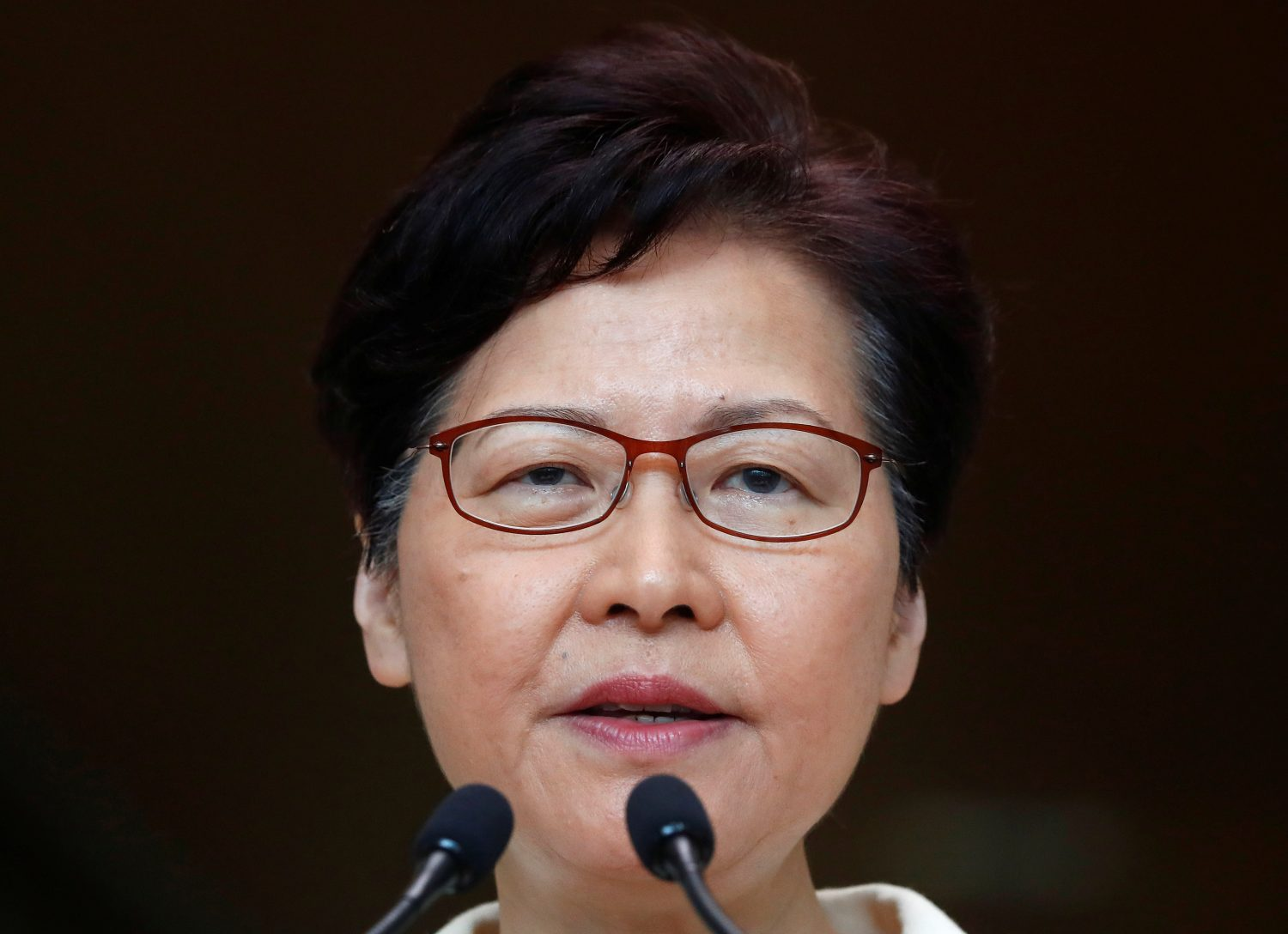 FILE PHOTO: Hong Kong's Chief Executive Carrie Lam holds a news conference in Hong Kong, China, September 3, 2019. REUTERS/Kai Pfaffenbach