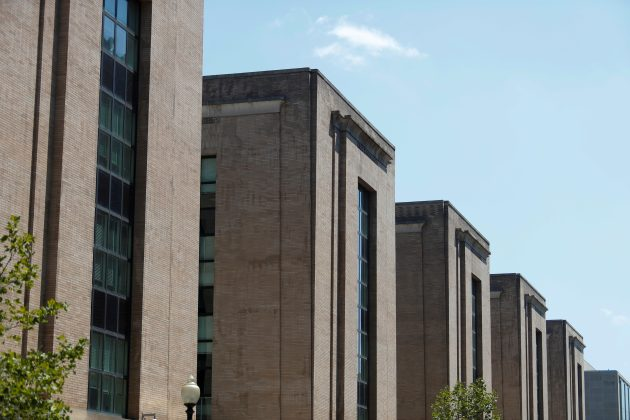 FILE PHOTO: An exterior view of the United States Health and Human Services Building on C Street Soutwest in Washington, U.S., July 29, 2019. REUTERS/Tom Brenner