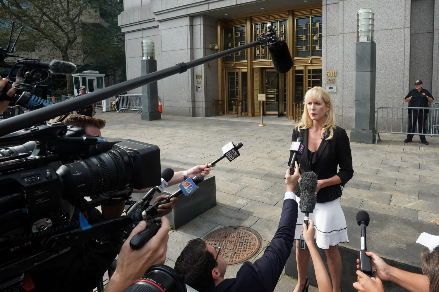 Attorney Sigrid McCawley, lawyer for Jeffrey Epstein's alleged victims, speaks outside Manhattan Federal Court following a hearing in a defamation lawsuit filed by one of Jeffrey Epstein's alleged victims, Virginia Giuffre, in New York, U.S., September 4, 2019. REUTERS/Bryan R Smith