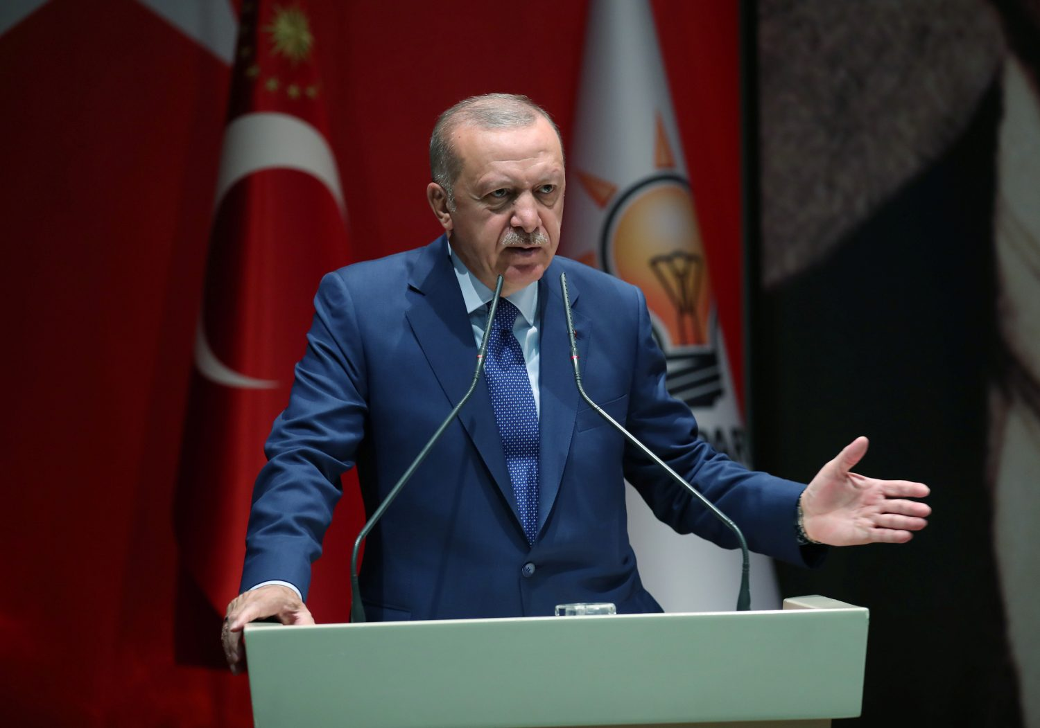Turkish President Tayyip Erdogan speaks during a meeting of his ruling AK Party in Ankara, Turkey, September 5, 2019. Murat Kula/Presidential Press Office/Handout via REUTERS