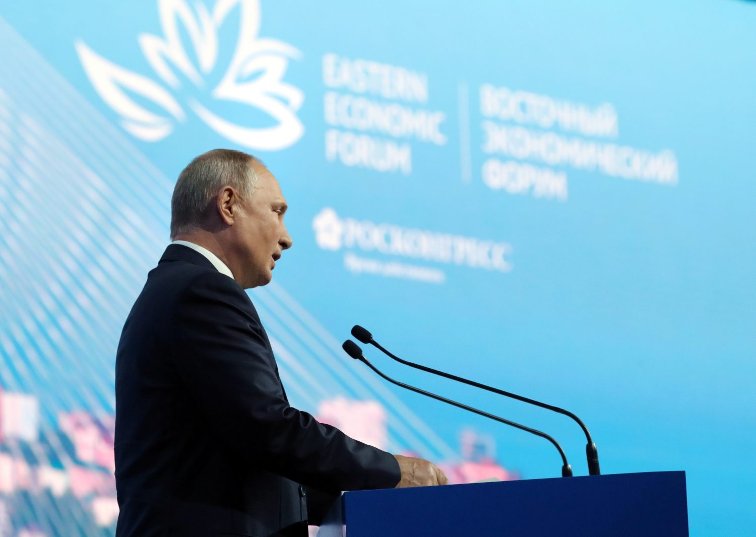 Russian President Vladimir Putin delivers a speech during a plenary session of the Eastern Economic Forum in Vladivostok, Russia September 5, 2019. Sputnik/Mikhail Klimentyev/Kremlin via REUTERS