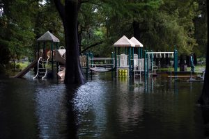 A city park and playground are inundated with flood waters from Hurricane Dorian in Wilmington, North Carolina, U.S., September 6, 2019. REUTERS/Jonathan Drake