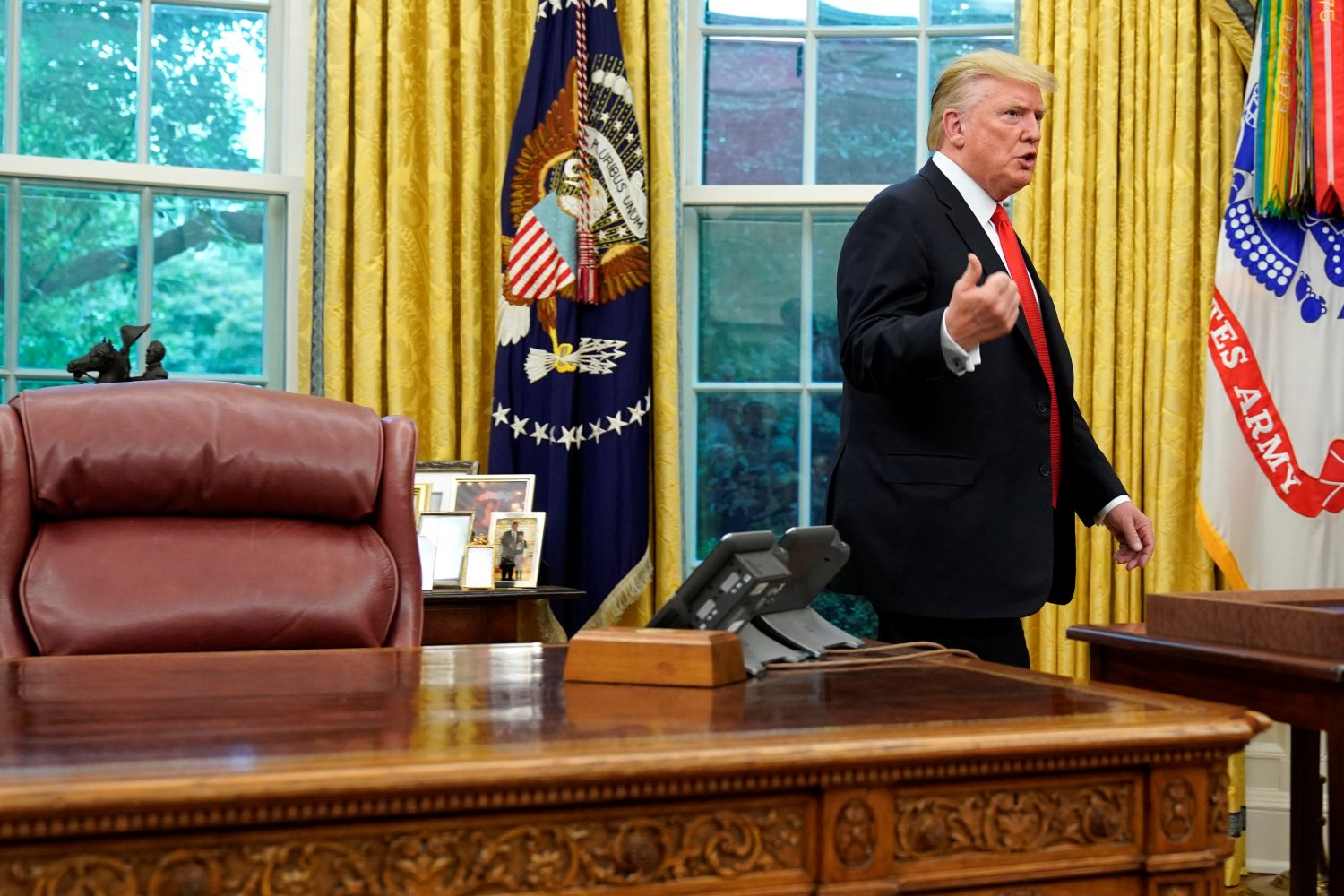 U.S. President Donald Trump departs after presenting NBA Hall of Fame player Jerry West with the Presidential Medal of Freedom in the Oval office of the White House in Washington, U.S., September 5, 2019. REUTERS/Joshua Roberts