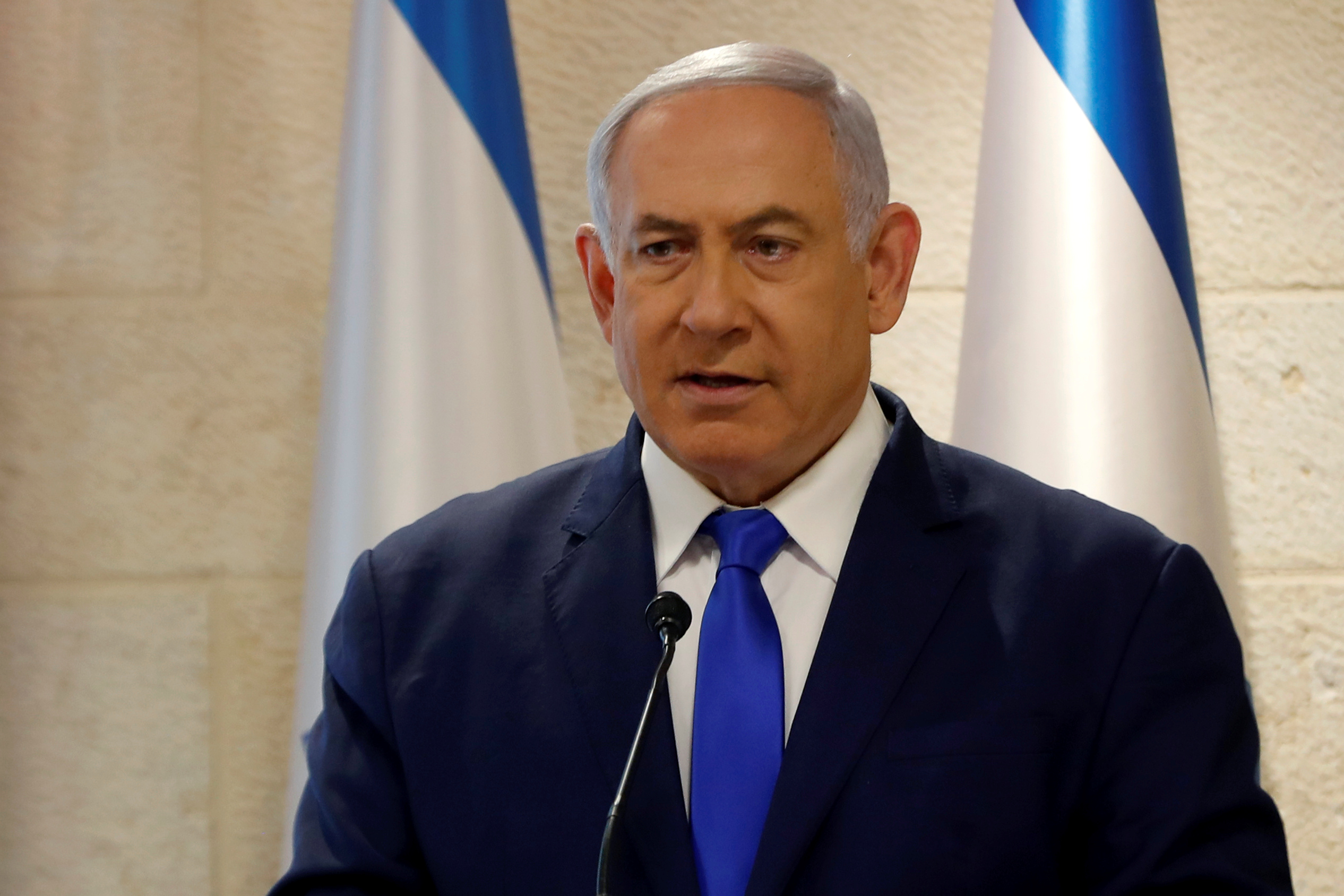 Israeli Prime Minister Benjamin Netanyahu speaks at a news conference in Jerusalem September 9, 2019. REUTERS/Ronen Zvulun