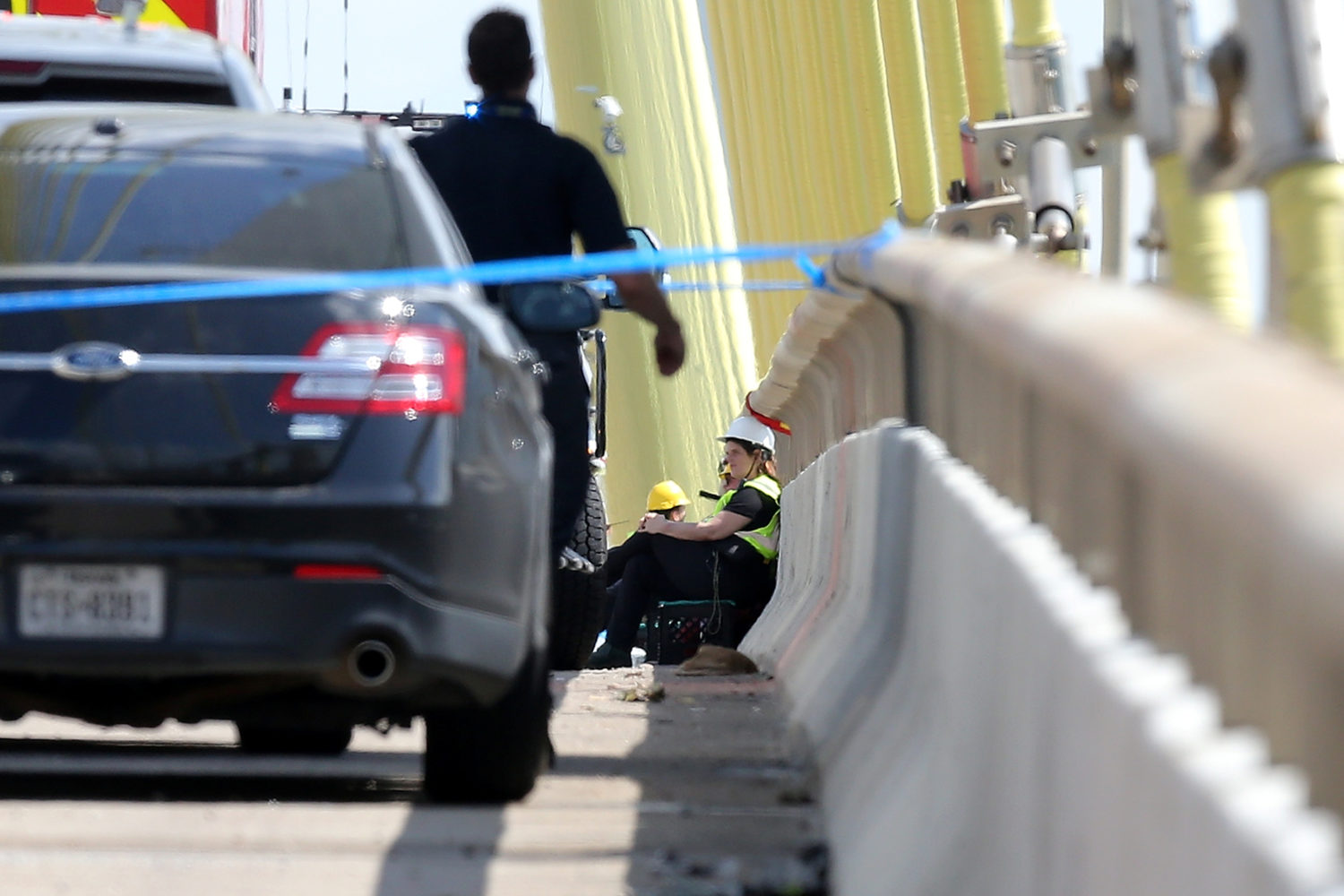 FILE PHOTO: Greenpeace USA climbers form a blockade on the Fred Hartman Bridge, shutting down the Houston Ship Channel, the largest fossil fuel thoroughfare in the United States, ahead of the third Democratic primary debate in nearby Houston, near Baytown, Texas, U.S. September 12, 2019. REUTERS/Jonathan Bachman