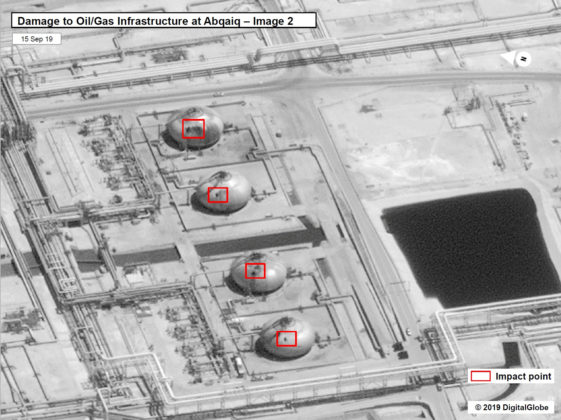 A satellite image showing damage to oil/gas Saudi Aramco infrastructure at Abqaiq, in Saudi Arabia in this handout picture released by the U.S Government September 15, 2019. U.S. Government/DigitalGlobe/Handout via REUTERS