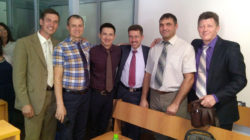 Adherents of the Christian denomination Jehovah's Witnesses Konstantin Bazhenov, Alexei Budenchuk, Felix Makhammadiev, Roman Gridasov, Gennady German and Alexei Miretsky pose for a picture inside the building of a regional court in Saratov, Russia in this undated handout photo. Courtesy of Jehovah's Witnesses/Handout via REUTERS ATTENTION EDITORS - THIS IMAGE WAS PROVIDED BY A THIRD PARTY. NO RESALES. NO ARCHIVES. MANDATORY CREDI
