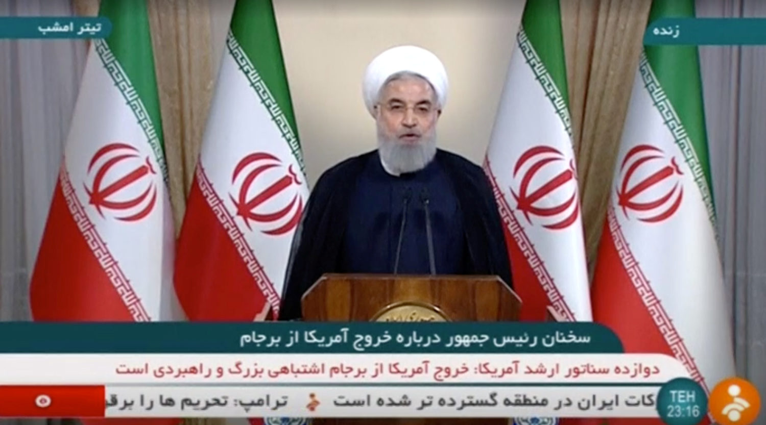 Iran's President Hassan Rouhani speaks about the nuclear deal in Tehran, Iran May 8, 2018 in this still image taken from video. IRINN/Reuters TV via REUTERS ATTENTION EDITORS - THIS IMAGE WAS PROVIDED BY A THIRD PARTY. IRAN OUT. TV RESTRICTIONS: BROADCASTERS: No Use Iran. No Use BBC Persian. No Use Manoto. No Use VOA Persian. DIGITAL: No Use Iran. No Use BBC Persian. No Use Manoto. No Use VOA Persian. For Reuters customers only.