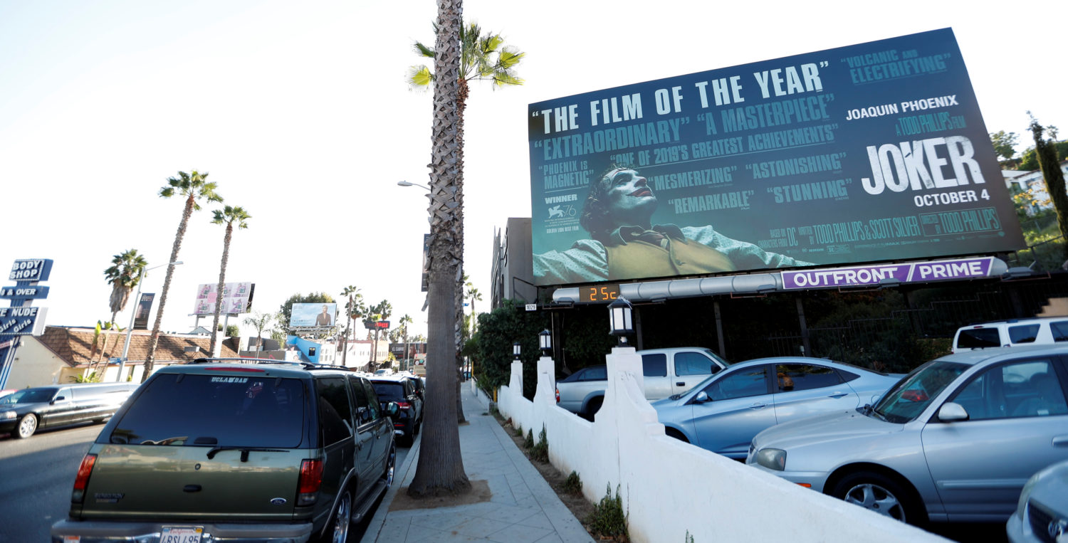 "A billboard advertising the film ""Joker"" is pictured in Los Angeles, California, U.S., October 2, 2019. REUTERS/Mario"