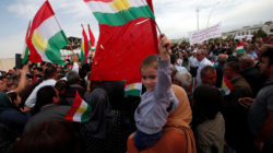 Iraqi Kurds protest the Turkish offensive against Syria during a demonstration outside the United Nations building in Erbil, Iraq October 12, 2019.REUTERS/Azad Lashkari