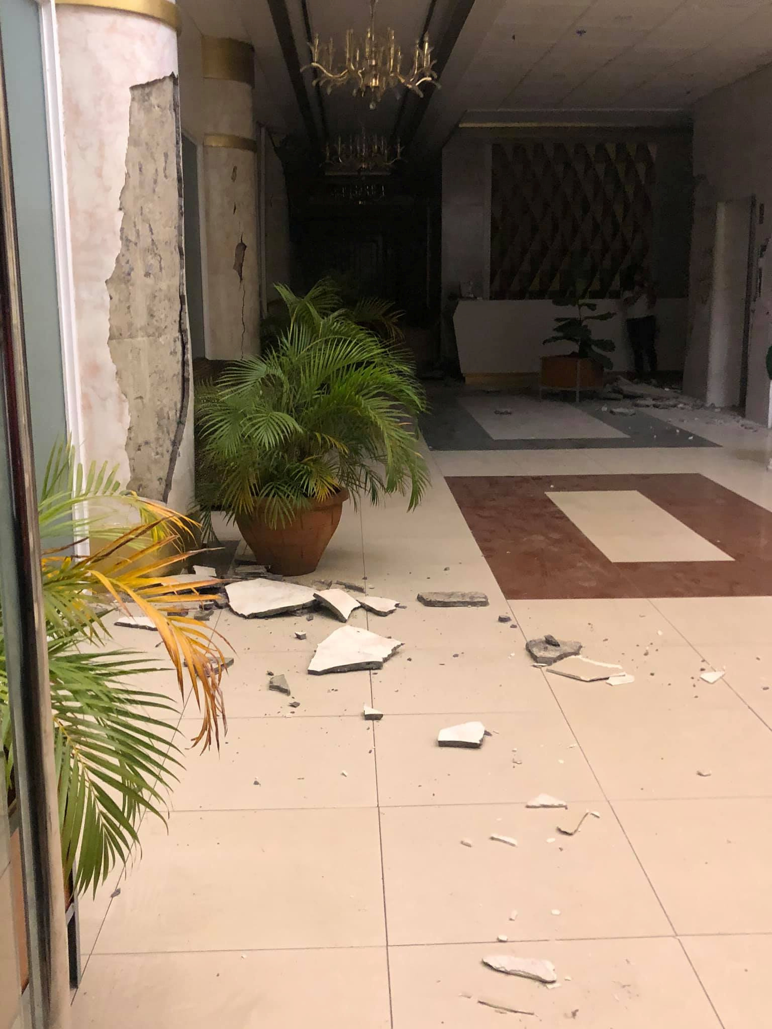 Rubble is seen on a floor of a hotel in the aftermath of an earthquake in Kidapawan City, Philippines October 16, 2019 in this picture obtained from social media. NARU GUARDA CABADDU/via REU