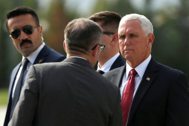 U.S. Vice President Mike Pence arrives at Esenboga International Airport in Ankara, Turkey, October 17, 2019. REUTERS/Huseyin Aldemir