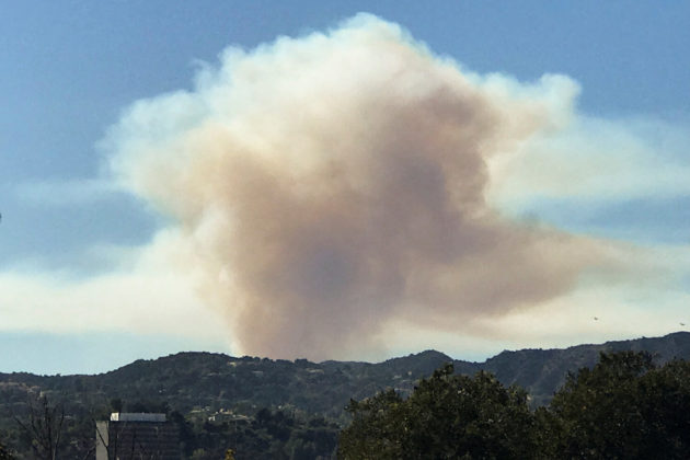 Smoke can be seen as a wild fire breaks out in the hills of Pacific Palisades in Los Angeles, California, U.S., October 21, 2019. REUTERS/Gene Blevins