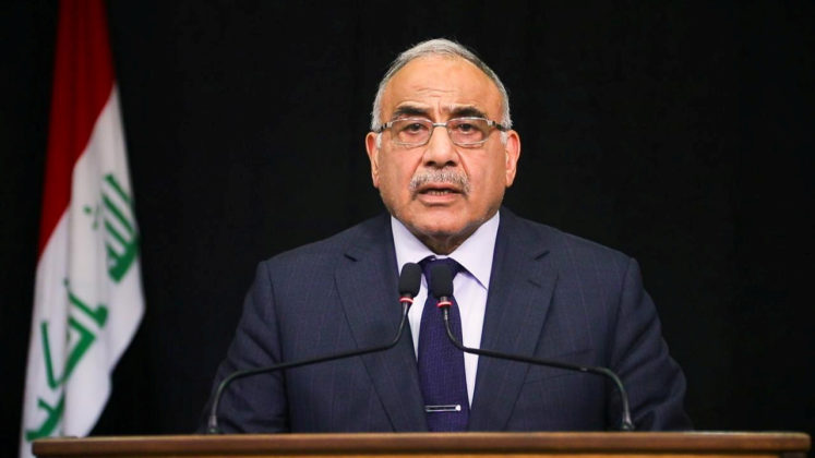 FILE PHOTO: Iraqi Prime Minister Adel Abdul Mahdi gives a televised speech in Baghdad,Iraq October 9, 2019. Iraqi Prime Minister Media Office/Handout via REUTERS