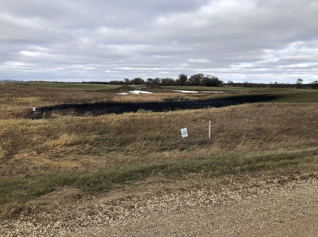 Oil spilled from a section of the Keystone pipeline is seen in Walsh County, North Dakota, U.S., October 30, 2019. Taylor DeVries/North Dakota Department of Environmental Quality/Handout via REUTERS