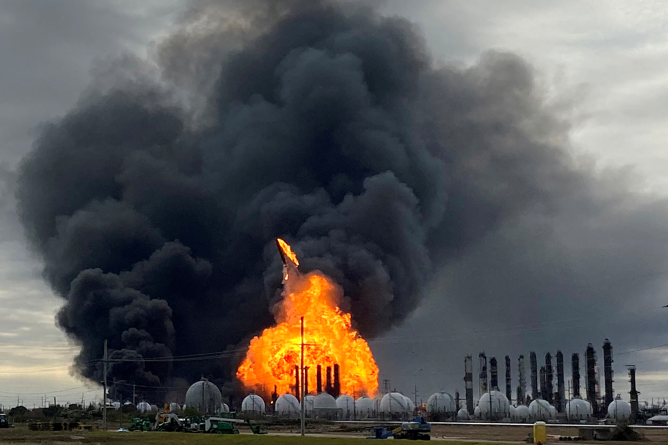 FILE PHOTO: A process tower flies through air after exploding at the TPC Group Petrochemical Plant, after an earlier massive explosion sparked a blaze at the plant in Port Neches, Texas, U.S., November 27, 2019. REUTERS/Erwin Seba/File Photo
